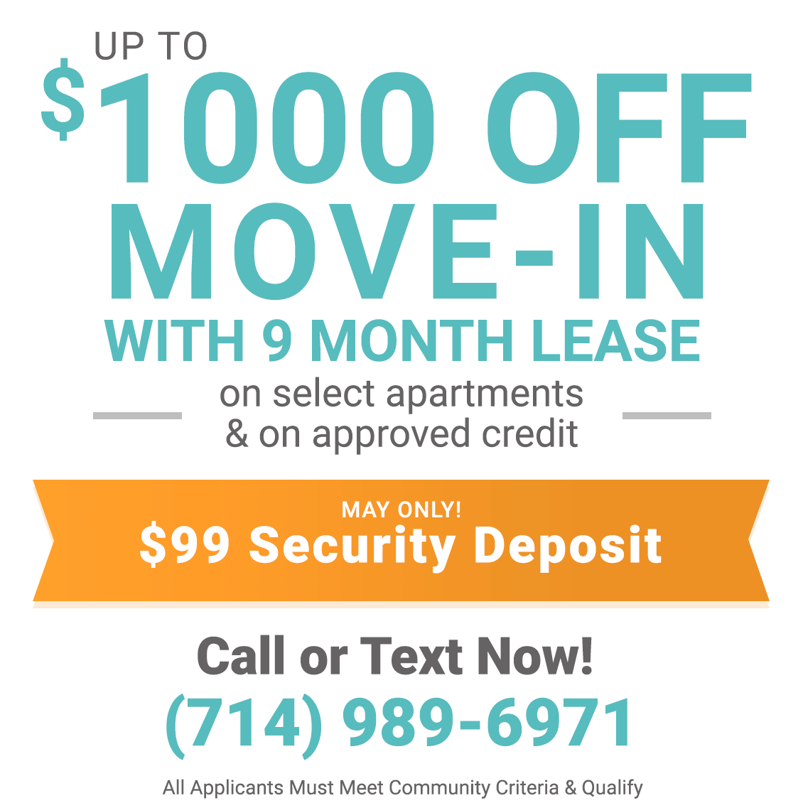 $1000 off move-in during May