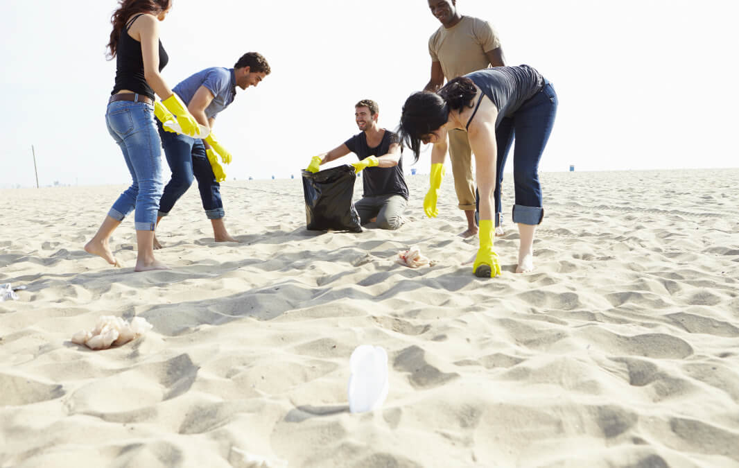 Cleaning at the beach